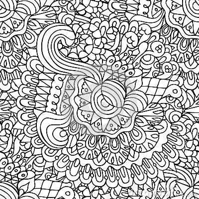 Free Doodles Floral And Curves Outline Ornamental Seamless Pattern Royalty Free Stock Photo - 64926265