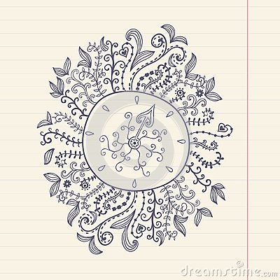 Free Doodles Floral Frame On Grunge Paper, Vector Illustration. Hand Royalty Free Stock Images - 50395639