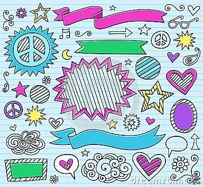 Doodles ilustracyjny markiera notatnika wektor