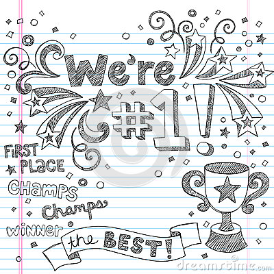Doodles imprecisi del taccuino del campione del trofeo di sport