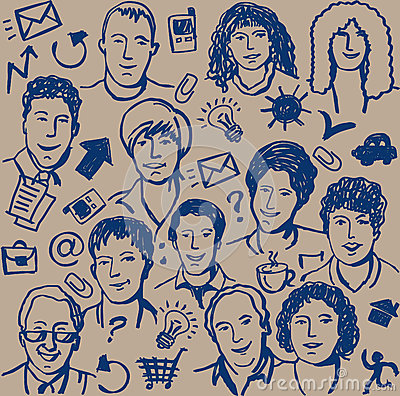 Doodles ink business icon and sketch of people sea