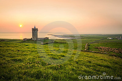 Doolin castle at sunset