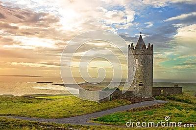Doonagore Castle in the beautiful scenery, Ireland