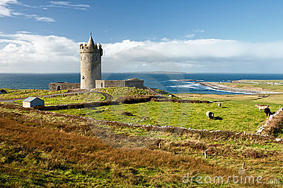 Doonagore Castle in the beautiful scenery-Ireland.