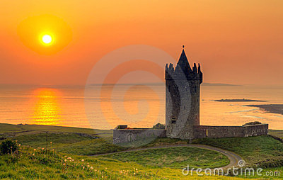 Doonegore castle at sunset in Doolin