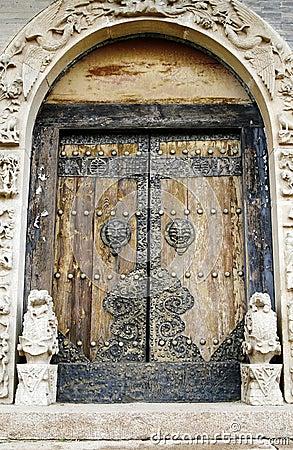 Door of the ancient temple.