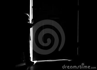 Door and boy silhouette