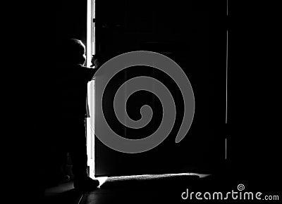 Door and boy silhouette