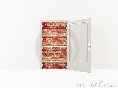 Door and brick wall