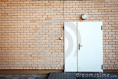 Door in a brick wall
