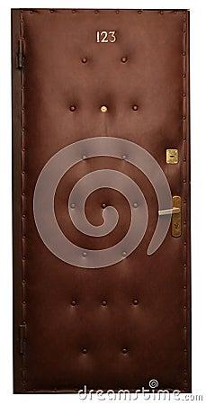 Door in brown artificial skin