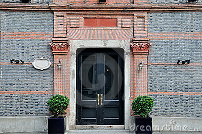 Door With Carve Decoration In Symmetry Royalty Free Stock Photos - Image: 21818838