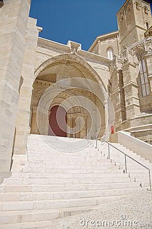 Door of cathedral at Lleida city