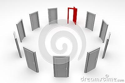 Door Circle - Open Red Door