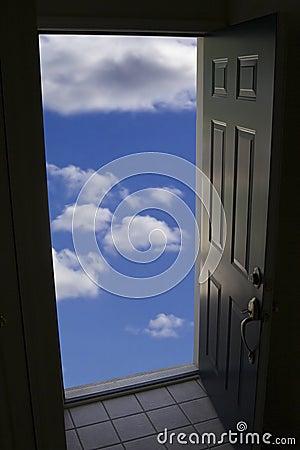 Door with clouds