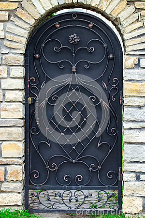 Free Door Decoration With Ornate Wrought-iron Elements, Close Up Royalty Free Stock Photos - 114804198