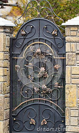 Free Door Decoration With Ornate Wrought-iron Elements, Close Up Royalty Free Stock Photography - 114804307