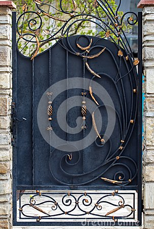 Free Door Decoration With Ornate Wrought-iron Elements, Close Up Royalty Free Stock Photography - 114804367