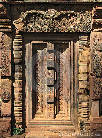 Free Door Detail, Banteay Srei, Cambodia Royalty Free Stock Photos - 745808