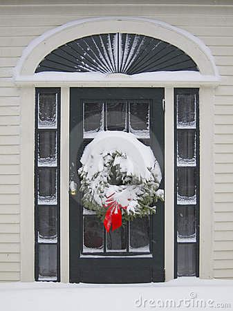 Door entrance with wreath