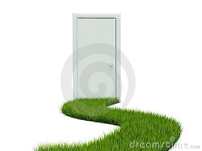Door with grass path