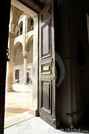Door in historical umayyad mosque in damascus