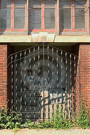 Door with iron grating