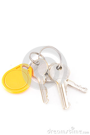Door keys and circle yellow key card Stock Photo
