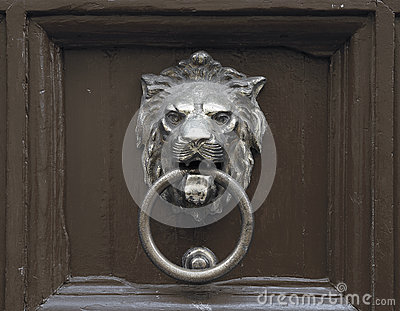 Door with lion door knocker