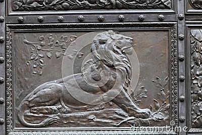 Door with lion Stock Photo