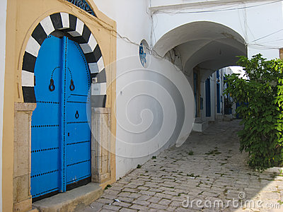 Door. Moorish style. Sidi Bou Said. Tunisia