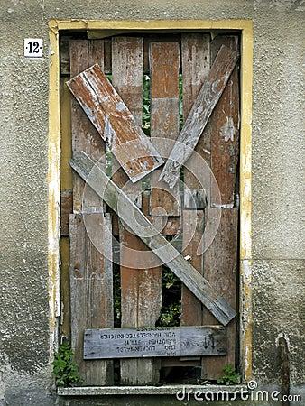 Door-nailed and blocked up