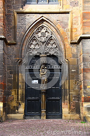 the door of old church in Colmar