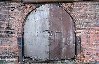 Door of an old warehouse in New York