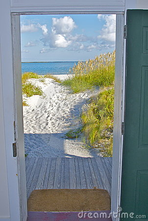 Door opening onto beach