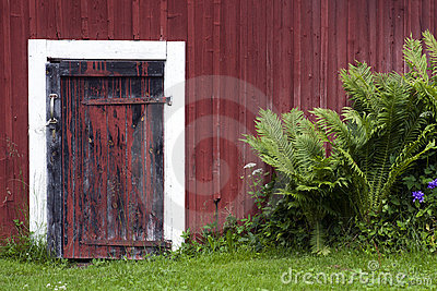 Door on red shed