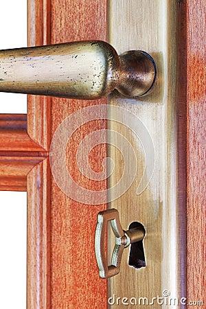 Door of the room and the door handle.