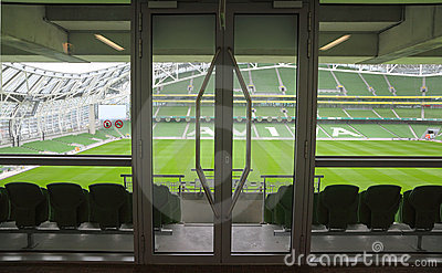 Door and rows of seats in stadium Editorial Photography