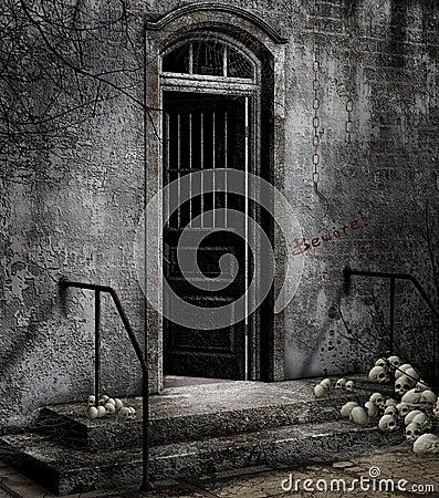 Door with skulls