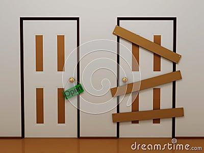 Door with tag open and boarded door