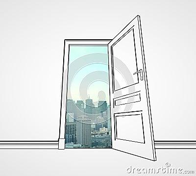 Door to city