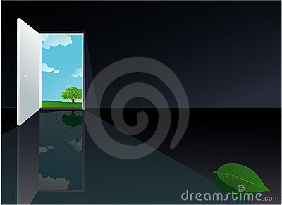 Door to the nature. Vector.