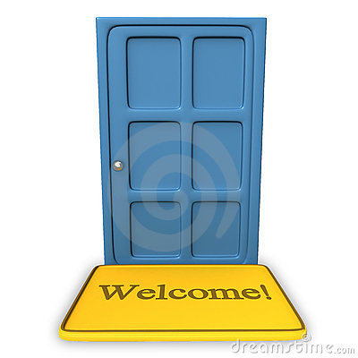 Door with a welcome on a carpet