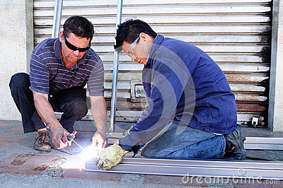 Door-Welding workshop Editorial Photography