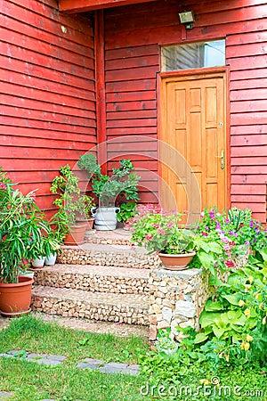 Door on wooden house