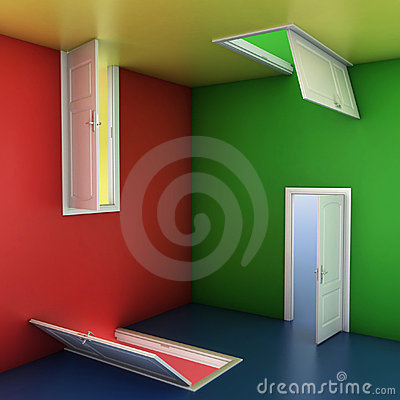 Doors abstract 3d illustration