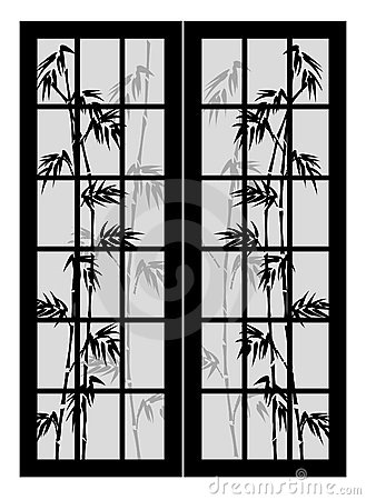 Doors with bamboo