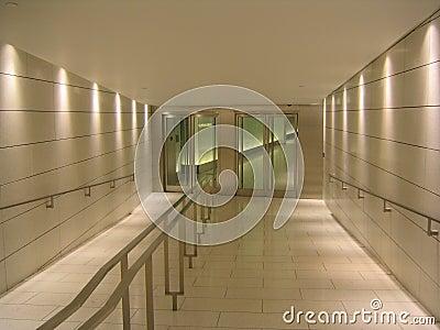 Doors at the end of underground corridor