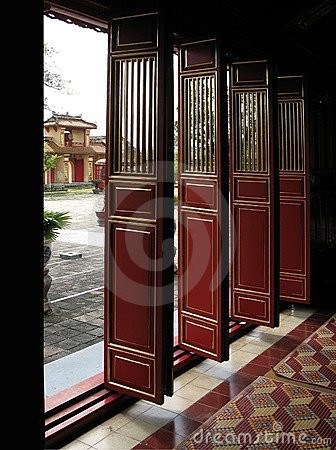 Doors in Forbidden Purple City, Hue, Vietnam