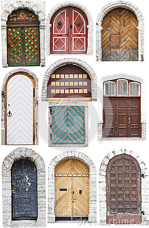 Doors with limestone edges